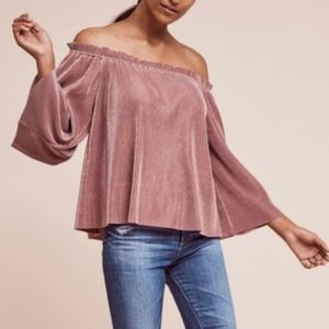 Deletta Anthro Pleated Off the Shoulder Top